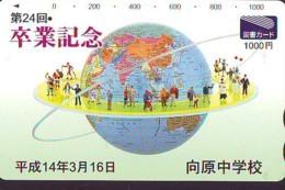 Carte Prépayée Japon  ESPACE (853)  GLOBE * SATELLITE * TERRESTRE * MAPPEMONDE * Telefonkarte Phonecard JAPAN * - Espace