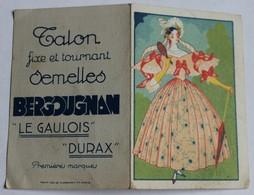 Calendrier Publicitaire 1935 Femme élégante Semelles Bergougnan Le Gaulois Durax Mont Louis Clermont - Calendars