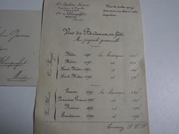 VIGNOBLE, Pauline Janin , Blanquefort, 1891,Tarifs Et Lettre D'accompagnement, - Advertising