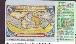 Carte Prépayée Japon IO * JR * TRAIN MAP (492)  GLOBE * SATELLITE * TERRESTRE * ESPACE MAPPEMONDE * TK Phonecard JAPAN * - Espace