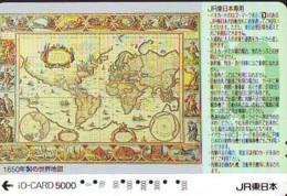 Carte Prépayée Japon IO * JR * TRAIN MAP (493)  GLOBE * SATELLITE * TERRESTRE * ESPACE MAPPEMONDE * TK Phonecard JAPAN * - Espace