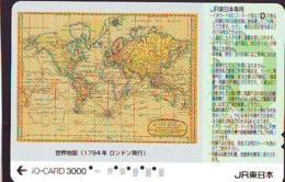 Carte Prépayée Japon IO * JR * TRAIN MAP (494)  GLOBE * SATELLITE * TERRESTRE * ESPACE MAPPEMONDE * TK Phonecard JAPAN * - Espace
