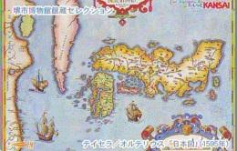 Carte Prépayée Japon IO * JR * TRAIN MAP (495)  GLOBE * SATELLITE * TERRESTRE * ESPACE MAPPEMONDE * TK Phonecard JAPAN * - Espace