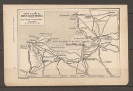 CARTE TOPOGRAPHIQUE 1920 MANCHE (50) VOIES D'ACCES AU MONT SAINT MICHEL ROUTES CARROSSABLES - Topographical Maps