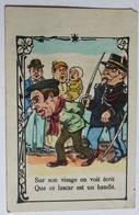 Rare Belle Chromo Facturette Caricature Policier Gendarme Bandit Maison Mahé Guilbert Saint Lo Rue Porçon Barbinais - Other
