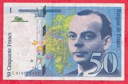 """50 Francs """"St Exupéry"""" 1994 --VG/TTB--n °L 018072485 - 50 F 1992-1999 ''St Exupéry''"""