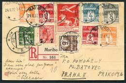 1927 Denmark Maribo Postcard, Registered - Prague, Czechoslovakia. Luftpost - Covers & Documents
