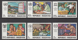 1970 Maldives UN Education FAO WHO Surgeons Health  Complete Set Of 6 MNH - Malediven (1965-...)