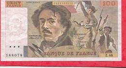 """100 Francs """"Delacroix"""" 1981 --F/TTB+----Série Z.48 ---DERNIER ALPHABET - 1962-1997 ''Francs''"""