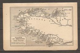 CARTE TOPOGRAPHIQUE 1920 PLAGES DE BRETAGNE ITINERAIRE CIRCULAIRE ROUTES D'ACCES AUX PLAGES - Topographische Kaarten