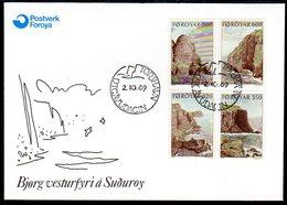 FAROE IS. 1989 Coastal Landscaps On FDC.  Michel 190-93 - Faroe Islands