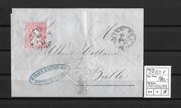 1854-1862 Helvetia (Ungezähnt) Strubel → Brief Rundst. FRIBOURG Nach Bulle ►SBK-24B3.V◄ - Lettres & Documents