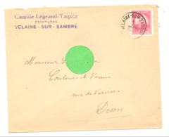Enveloppe à Entête : Peintures Camille LEGRAND  TAQUIN à VELAINE - SUR - SAMBRE En 1948 (van) - Belgium