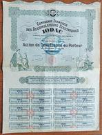 Action 100 Francs Compagnie Française Des Accumulateurs Electriques IODAC 1928 - Electricité & Gaz