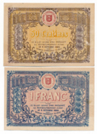 1914-1918 // C.D.C. // St DIE // 9 Octobre 1915 // 50 Centimes & Un Franc // Sans Filigrane - Chambre De Commerce