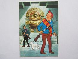 Bandes Dessinées Hergé Tintin Et Le Temple Du Soleil Tintin Et Haddock Devant L'idole Inca - Bandes Dessinées