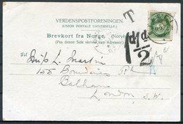 1905 Norway Stalheim Postcard - Balham London. Postage Due, Taxe - Norway