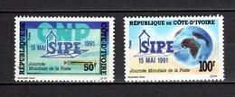 COTE D'IVOIRE N° 878 + 879  NEUFS SANS CHARNIERE COTE 2.00€  JOURNEE DE LA POSTE - Ivory Coast (1960-...)