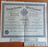 Action Etoile Roumaine De 500 LEI - Industrie Du Pétrole - Bucarest 1921 - Pétrole