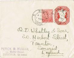 32786. Carta Entero Postal TUTICORIN (india) 1954. Fechador De TENNUR - Sobres