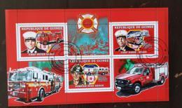 GUINEE Pompiers, Pompier, Firemen, Bomberos. Feuillets 4 Valeurs Emis En 2006 Oblitéré, Used//Yvert 2739 / 41 - Sapeurs-Pompiers