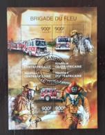 CENTRAFRIQUE Pompiers, Pompier, Firemen, Bomberos. Feuillets 4 Valeurs Emis En 2013 Oblitéré, Used - Sapeurs-Pompiers