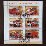 COMORES Pompiers, Pompier, Firemen, Bomberos. Feuillets 6 Valeurs Emis En 2008 Oblitéré, Used - Sapeurs-Pompiers