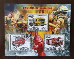TOGO Pompiers, Pompier, Firemen, Bomberos. Feuillets 3 Valeurs Emis En 2011 Oblitéré, Used - Sapeurs-Pompiers