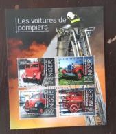 NIGER Pompiers, Pompier, Firemen, Bomberos. Feuillets 4 Valeurs Emis En 2013 Oblitéré, Used - Sapeurs-Pompiers