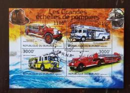 BURUNDI Pompiers, Pompier, Firemen, Bomberos. Feuillets 4 Valeurs Emis En 2012 Oblitéré, Used - Sapeurs-Pompiers