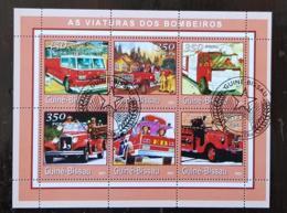 GUINEE BISSAU Pompiers, Pompier, Firemen, Bomberos. Feuillets 6 Valeurs Emis En 2001 Oblitéré, Used - Sapeurs-Pompiers