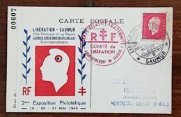 FRANCE Liberation SAUMUR. Ville Heroique Et Sa Région. Exposition Philatelique 19 Au 21 MAI 1945. Cachet Saumur - WW2