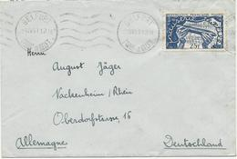 LETTRE POUR L'ALLEMAGNE 1951 AVEC TIMBRE A  25 FR INDUSTRIE TEXTILE - Poststempel (Briefe)