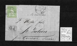 1854-1862 Helvetia (Ungezähnt) Strubel → PD-Brief Rundst.SOLOTHURN - Saint-Julien/F  ►SBK-26B4.Va◄ - 1854-1862 Helvetia (Non-dentelés)
