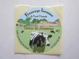 Etiquette Autocollant De Fromage Charente 16 Lésignac Ferme De Javernac Vache - Kaas