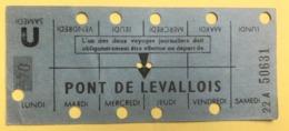 RATP METRO PONT DE LEVALLOIS - CARTE HEBDOMADAIRE ELEVE OU ETUDIANT - LIGNE 3 - Europe