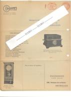 """Dépliant Publicitaire Avec Carte Réponse - Horloge Pointeuse, Sirène, """"DIAGRAMMES """"  à BRUXELLES 1949  (van) - 1950 - ..."""