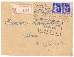 Paix Lettre Adressé Au Maréchal Petain Mention Trouvé A La Boite Recommandé D Office Mantes Gassicourt Seine Et Oise - Marcophilie (Lettres)
