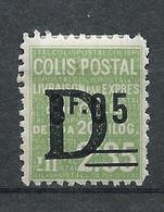 FRANCE - 1938 - Colis Postaux - YT N°144 - 3 F. 05 Sur 2 F. 35 Vert Surchargé D - Livraison Par Exprès - Neuf* TTB - Mint/Hinged