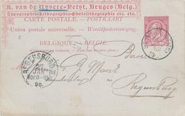 133/29 - Entier Postal Emission Type 46 - BRUGES Station 1889 Vers REGENSBURG - Repiquage Imprimerie Van De Vyvere-Petyt - Entiers Postaux