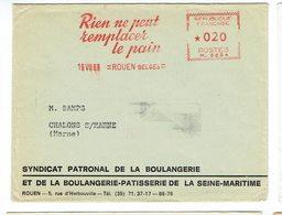 EMA RIEN NE PEUT REMPLACER LE PAIN  19 VII68  ROUEN BELGES  MACHINE  M 5254 - Marcophilie (Lettres)