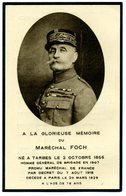 AVIS DE DECES - A La Glorieuse Mémoire Du Maréchal FOCH Décédé à Paris Le 20 Mars 1929 - Décès
