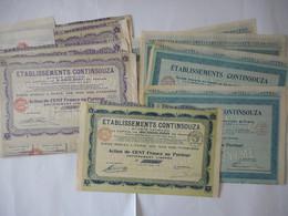 LOT De 10 Ets CONTINSOUZA   1924 Rue Des Pyrenees PARIS 20 EME - Shareholdings