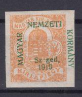 Hungary Szegedin Szeged 1919 Mi#1 Mint Hinged, Error Overprint - Sz_ged Instead Of Szeged - Szeged