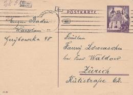 General Gouvernement Entier Postal Warschau Pour La Suisse 1942 - 1939-44: World War Two
