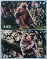 CHINA - Tamura - Hubei - Monkeys - E HBT13 - 101 & 102 - Set Of 2 - 1995 - Used - Chine