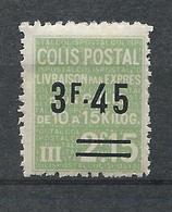 FRANCE - 1938 - Colis Postaux - YT N°152 - 3 F. 45 Sur 2 F. 15 Vert - Livraison Par Exprès - Neuf* TTB - Colis Postaux