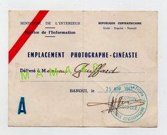 REPUBLIQUE CENTRAFRICAINE - BANGUI - CARTE OFFICIELLE DU MINISTERE DE L'INTERIEUR  - EMPLACEMENT PHOTOGRAPHE CINEASTE - Cartes