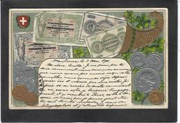 CPA Billet De Banque Banknote Circulé Suisse Gaufré Embossed - Coins (pictures)
