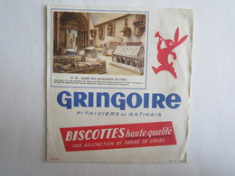 Publicité Buvard Buvards Gringoire Musée Paris Pithiviers En Gatinais Biscottes - Zwieback